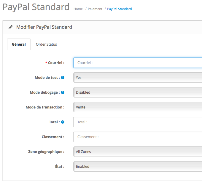OpenCart Paiement PayPal 1