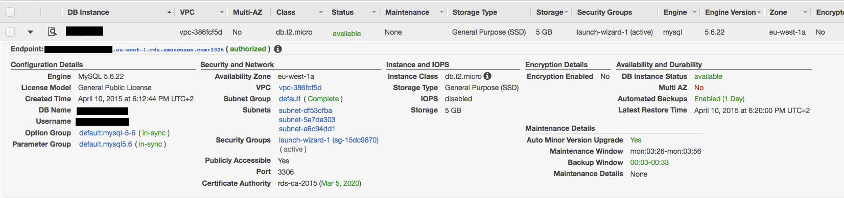 RDS-AWS-parametres